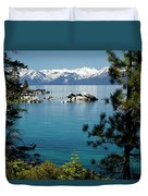 Rocks In A Lake With Mountain Range Duvet Cover