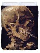 Skull With Cigarette  Duvet Cover