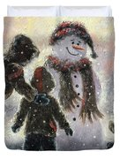 Snowman And Three Boys Duvet Cover