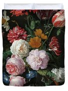 Still Life With Flowers In A Glass Vase, 1683 Duvet Cover