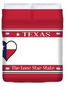 Texas State License Plate Duvet Cover
