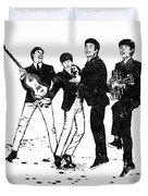 The Beatles Black And White Watercolor 02 Duvet Cover