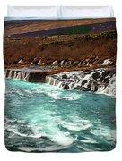 The Beautiful Cascades Of Hraunfossar In Iceland. Duvet Cover