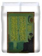 The Green Interior  Figure Seated By A Curtained Window   Duvet Cover