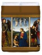 Three Panels From An Altarpiece  Certosa  Duvet Cover