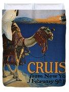 Vintage Poster -  Mediterranean Cruises Duvet Cover