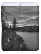 Walking Along The Seine At Sunset Duvet Cover