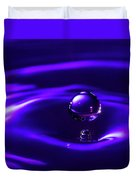 Water Drop Falling Into Water Duvet Cover
