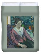 Woman In Front Of A Still Life By Cezanne Duvet Cover