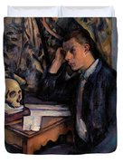 Young Man And Skull Duvet Cover