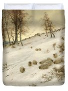 A Flock Of Sheep In A Snowstorm  Duvet Cover