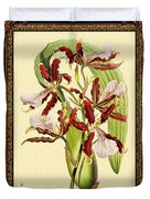 Vintage Orchid Antique Design Marble Blue-green  Duvet Cover
