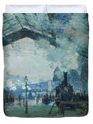 Arrival Of The Normandy Train, Gare Saint-lazare Duvet Cover by Claude Monet