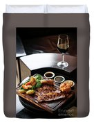 Sunday Roast Beef Traditional British Meal Set On Table Duvet Cover