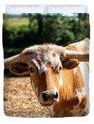 Longhorn Bull In The Paddock Duvet Cover