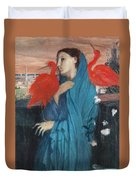 Young Woman With Ibis  Duvet Cover