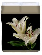 White Lily On Black. Duvet Cover