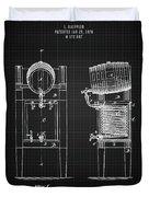 1876 Brewing Cooler - Black Blueprint Duvet Cover