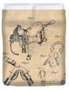 1880 Military Saddle Patent Print Antique Paper Duvet Cover