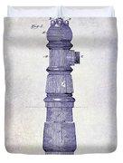 1889 Fire Hydrant Patent Blueprint Duvet Cover