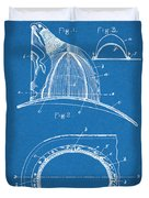 1889 Hopkins Fireman's Hat Blueprint Patent Print Duvet Cover
