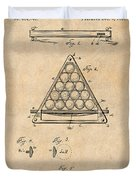 1891 Billiard Ball Rack Patent Print Antique Paper Duvet Cover