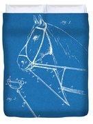 1891 Horse Harness Attachment Patent Print Blueprint Duvet Cover