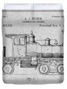 1891 Huber Locomotive Engine Gray Patent Print Duvet Cover