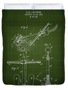 1892 Ships Anchor - Dark Green Blueprint Duvet Cover
