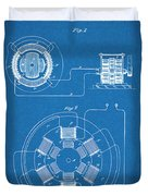 1896 Tesla Alternating Motor Blueprint Patent Print Duvet Cover