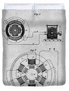 1896 Tesla Alternating Motor Gray Patent Print Duvet Cover