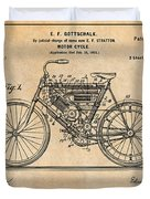 1901 Stratton Motorcycle Antique Paper Patent Print Duvet Cover