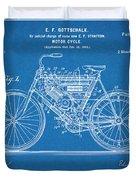 1901 Stratton Motorcycle Blueprint Patent Print Duvet Cover