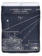 1903 Railroad Derrick Blackboard Patent Print Duvet Cover