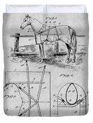 1905 Horse Blanket Patent Print Gray Duvet Cover