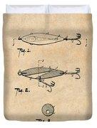 1909 Lockhart Antique Fishing Lure Antique Paper Patent Print Duvet Cover