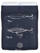 1909 Lockhart Antique Fishing Lure Blackboard Patent Print  Duvet Cover