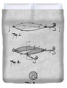 1909 Lockhart Antique Fishing Lure Gray Patent Print Duvet Cover