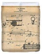 1913 Remington Model 17 Pump Shotgun Antique Paper Patent Print Duvet Cover