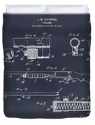 1913 Remington Model 17 Pump Shotgun Blackboard Patent Print Duvet Cover