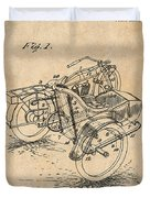 1913 Side Car Attachment For Motorcycle Antique Paper Patent Print Duvet Cover