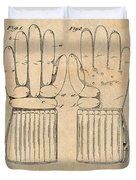 1914 Hockey Gloves Antique Paper Patent Print Duvet Cover