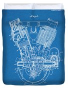 1914 Spacke V Twin Motorcycle Engine Blueprint Patent Print Duvet Cover