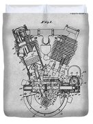 1914 Spacke V Twin Motorcycle Engine Gray Patent Print Duvet Cover
