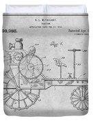 1919 Antique Tractor Gray Patent Print Duvet Cover