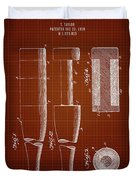 1919 Baseball Bat - Dark Red Blueprint Duvet Cover