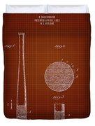 1923 Baseball Bat - Dark Red Blueprint Duvet Cover