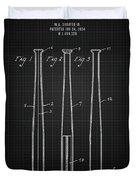 1924 Baseball Bat - Black Blueprint Duvet Cover