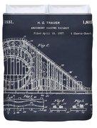 1927 Roller Coaster Blackboard Patent Print Duvet Cover