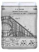 1927 Roller Coaster Gray Patent Print Duvet Cover